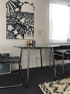 Glass round Dining table metal chrome legs modern