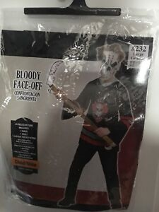 HALLOWEEN-Bloody Face-Off hockey player costume.