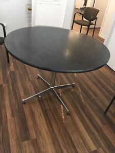 """42"""" Round Executive Black Wooden Top Solid Table"""