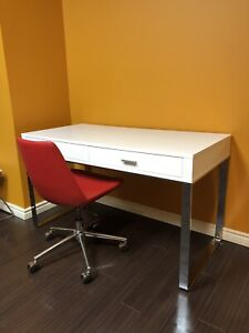 White Desk Table with 2 Drawers