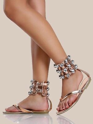 Cape Robbin OMH Rose Gold Thong Sandal Wide Ankle Cuff Large Rhinestones (Cape Thong)