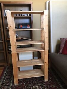 Wooden storage shelves, good condition