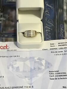 Bague homme or 10kt 50pts diamants