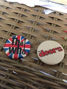 Old Celluloid Pinbacks The Who/ The Doors