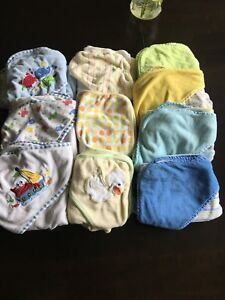 Hooded Baby Towels & 9 Burp Cloth Lot