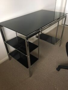 Desk - black glass and silver metal
