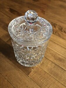 "Oxford crystal (Poland)biscuit jar approximately 9"" tall"