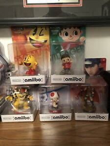Amiibos (Ike, Villager, Bowser, Pac-Man, Toad)