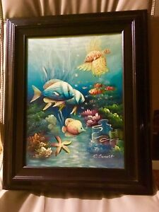 Vintage fish painting, framed canvas