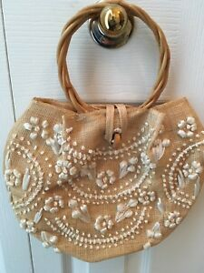 Hand Decorated Straw Purse