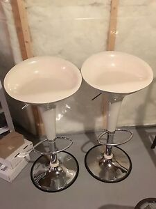 TWO WHITE BUCKET STOOLS