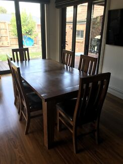 Solid Timber Dining Table & 8 High Back Chairs