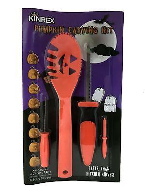 KINREX Pumkin Carving Kit Tools - Halloween Decorations - 4 Tools and 8 Stencils