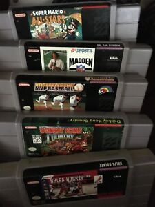 Super Nintendo with 5 games