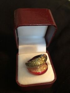 24k Gold Murano Glass ring, two tone, made in Italy, size 6