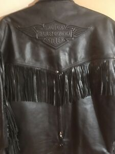 Woman's Harley leather coat with tassels