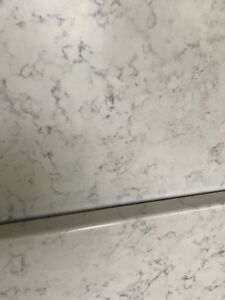 Laminate countertop and square stainless sink