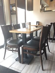 RESTAURANT TABLE (4) & CHAIRS (8)