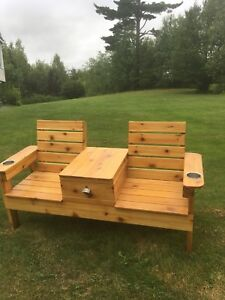 Cedar Jack and Jill Bench with Cooler!