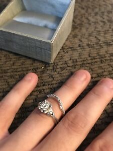 People's engagement ring and wedding band