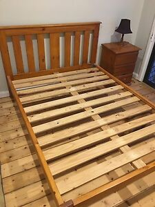 Solid pine double bed frame and bed side table drawers Botany Botany Bay Area Preview