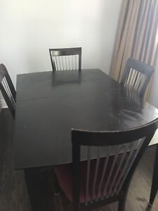 6 Dining Chairs and Wooden Dark Brown Dining Table