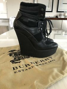 Burberry Shearling lined leather and suede wedge boot