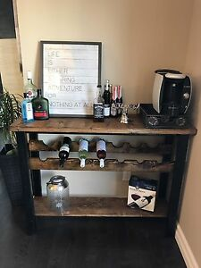 Console table with wine rack solid wood