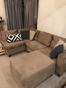 Microsuede couch with ottoman