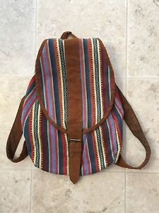 URBAN OUTFITTERS Multi-Colour Striped Canvas Boho Backpack
