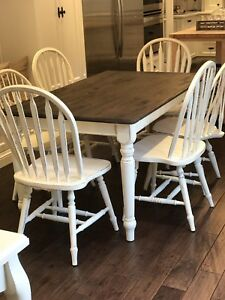 Rustic Country Farmhouse Shabby Chic Dining Table &  Six Chairs