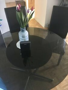 Glass dining table with 2 chairs- moving sale