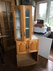 Two Oak Kitchen Cabinets