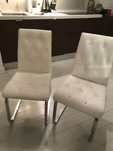 White Dining chairs 6 pcs