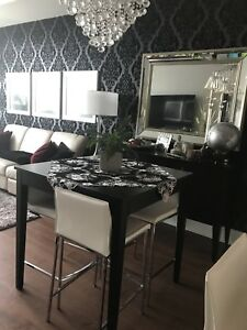 Condo Sized Dining Table, Leather Chairs, and Side Board