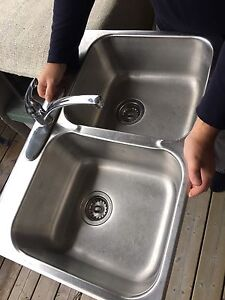 Stainless double kitchen sink and tap