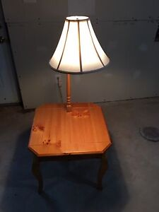 Pine side table with lamp