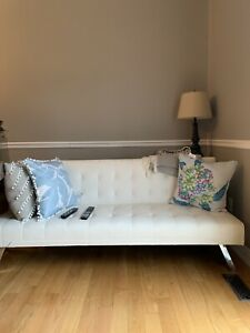 Beautiful new white tufted leather sofa bed