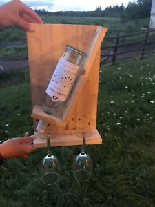 Wall-mounted, rustic themed; Wine bottle & 2 glasses holder