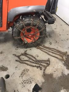Tire chains off of Kubota tractor