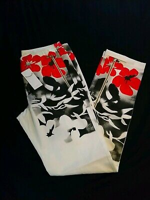 ICEBERG JEANS GILMAR Floral Jean Style Pants 52 NWT Black White Red