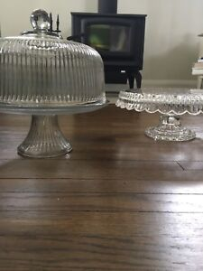 Crystal Cake Tray & Glass Covered Cake Tray