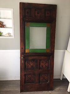 Antique Farmhouse Exterior Door with Stained Glass