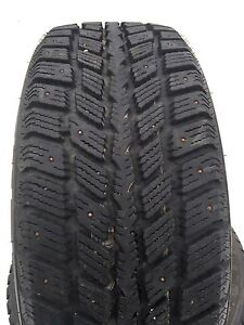 Set of four studded winter tires.