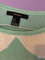 bow collar design aqua colour sweater forever 21