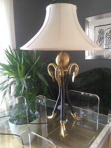 Neoclassical Brass table lamp - 3 swan head and feet detail