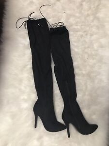 Size 8 thigh high black suede boots