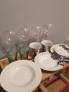 Assorted Glasses and Plates