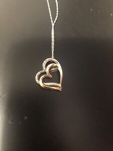 Rose/white gold dancing diamond heart necklace