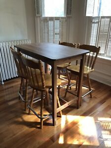 Gorgeous real wood bar stools and table